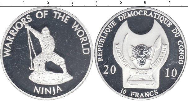 Картинка Мелочь Конго 10 франков Посеребрение 2010