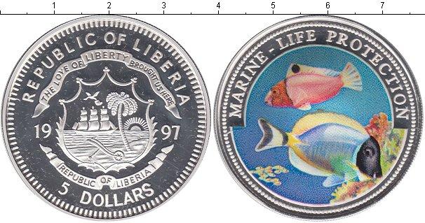 Картинка Монеты Либерия 5 долларов Серебро 1997
