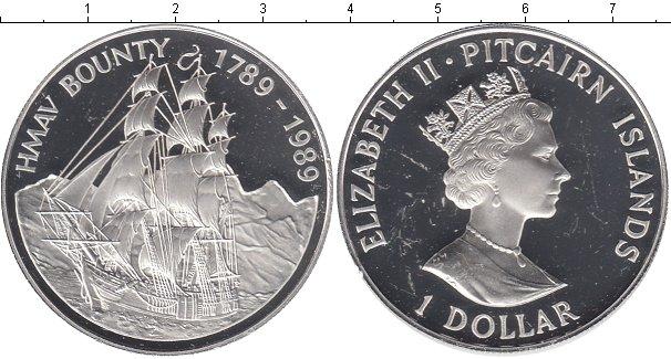 Купить монету острова питкэрн 1 доллар серебро - 1989 год.