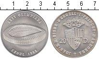 Изображение Монеты Андорра 20 динерс 1988 Серебро UNC Олимпиада-1988 в Сеу