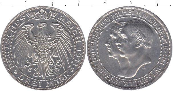 Картинка Монеты Пруссия 3 марки Серебро 1911