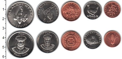 Изображение Наборы монет Тонга Тонга 2002-2005 0  UNC В наборе 5 монет ном