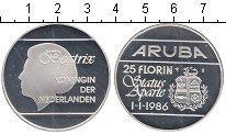 Изображение Монеты Аруба 25 флоринов 1986 Серебро Proof- Независимость