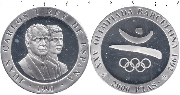 Картинка Монеты Испания 2.000 песет Серебро 1990
