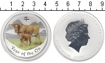 Изображение Монеты Австралия 1 доллар 2009 Серебро Proof Год Быка