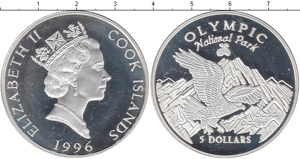 Картинка Монеты Острова Кука 5 долларов Серебро 1996
