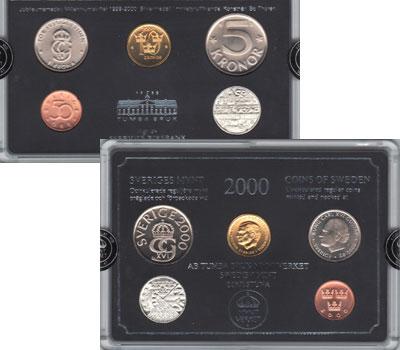 Изображение Подарочные монеты Швеция Выпуск 2000 года 2000  UNC Выпуск монет 2000 го