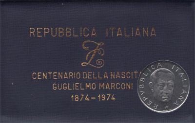 Изображение Подарочные монеты Италия 100-летие со дня рождения Г, Маркони 1974 Медно-никель UNC