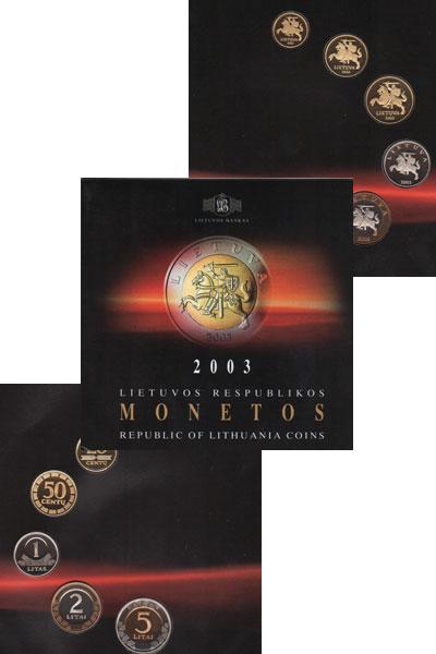 Изображение Подарочные монеты Литва Выпуск 2003 года 2003  UNC- Выпуск монет 2003 го