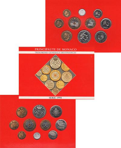 Изображение Подарочные монеты Монако Принц Монако Ренье 1995  UNC Подарочный набор пос