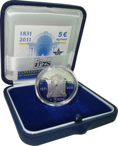 Изображение Подарочные наборы Италия 180-летие Государственного Совета 2011 Серебро Proof