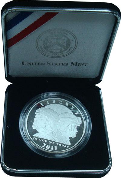 Изображение Подарочные монеты США Памятный пруф-доллар 2011 Серебро Proof Памятная монета посв