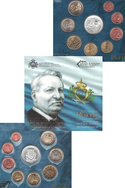 Изображение Подарочные монеты Сан-Марино Джованни Пасколи-поэт 2012  UNC `Подарочный набор по