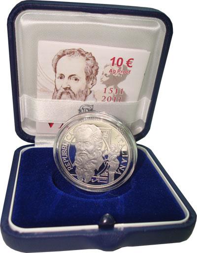 Изображение Подарочные монеты Италия Дж, Вазари-живописец 2011 Серебро Proof