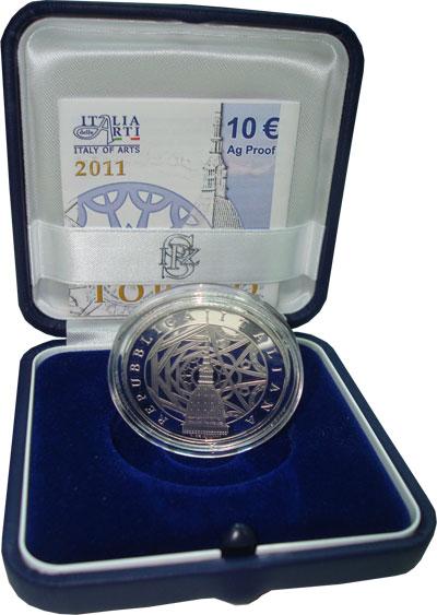 Изображение Подарочные наборы Италия Итальянский город Турин 2011 Серебро Proof `Подарочная монета п