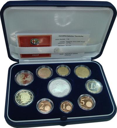 Изображение Подарочные монеты Италия 100-летие выпуска Альфа Ромео 2010 Серебро Proof