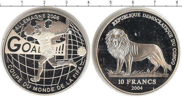 Картинка Монеты Конго 10 франков Серебро 2004