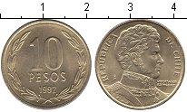 Изображение Мелочь Чили 10 песо 1992 Медно-никель VF