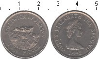 Изображение Мелочь Остров Джерси 10 пенсов 1992 Медно-никель VF Елизавета II