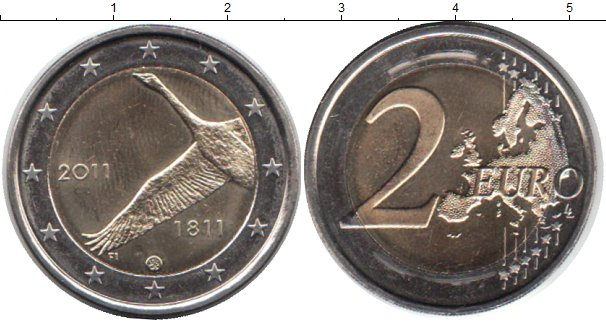 Картинка Мелочь Финляндия 2 евро Биметалл 2011