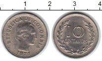 Изображение Мелочь Колумбия 10 сентаво 1974 Медно-никель UNC-