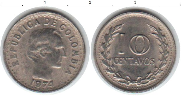 Картинка Мелочь Колумбия 10 сентаво Медно-никель 1974