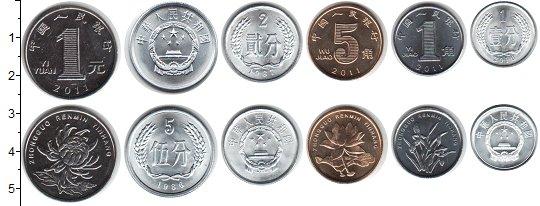 Изображение Наборы монет Китай Китай 1987 - 2013 гг 1987  UNC- В наборе 6 монет ном