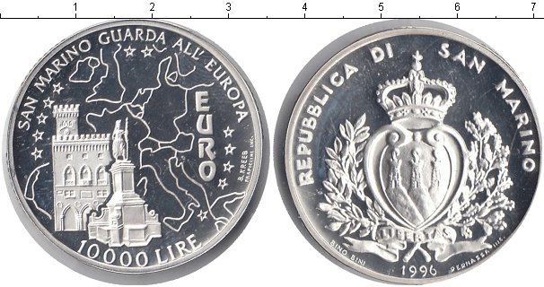 Картинка Монеты Сан-Марино 10.000 лир Серебро 1996