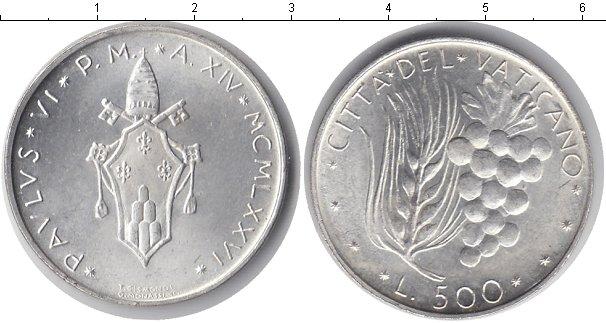 Картинка Монеты Ватикан 500 лир Серебро 1976