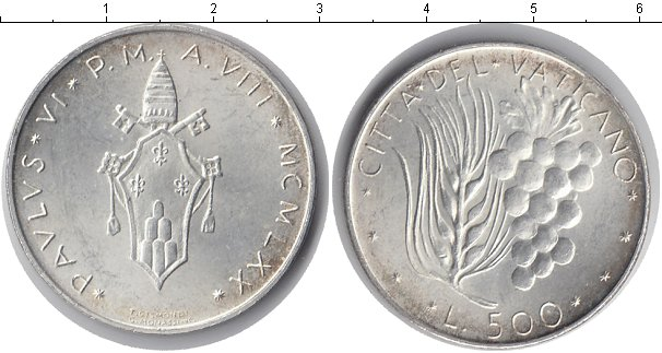 Картинка Монеты Ватикан 500 лир Серебро 1970
