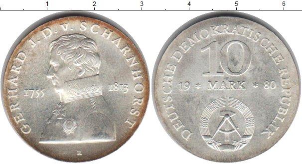 Картинка Монеты ГДР 10 марок Серебро 1980