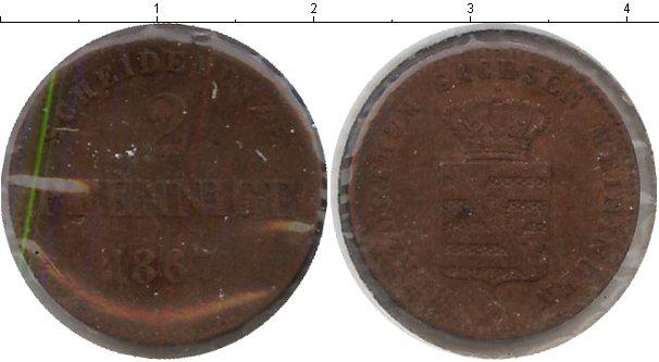 Картинка Монеты Саксен-Майнинген 2 пфеннига Медь 1867