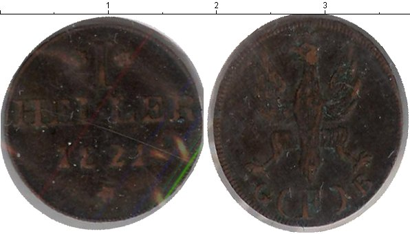 Картинка Монеты Франкфурт 1 геллер Медь 1821