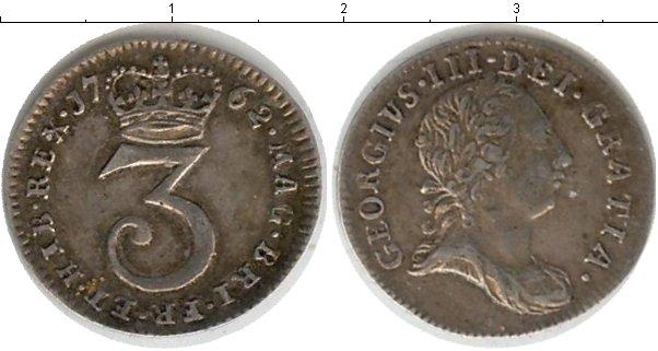 Картинка Монеты Великобритания 3 пенса Серебро 1762