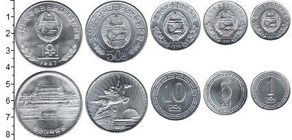Изображение Наборы монет Северная Корея Северная Корея 1959-1987 0 Алюминий UNC- В наборе 5 монет ном