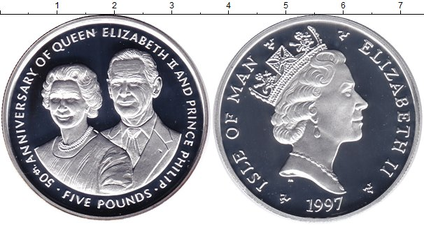 Картинка Монеты Остров Мэн 5 фунтов Серебро 1997