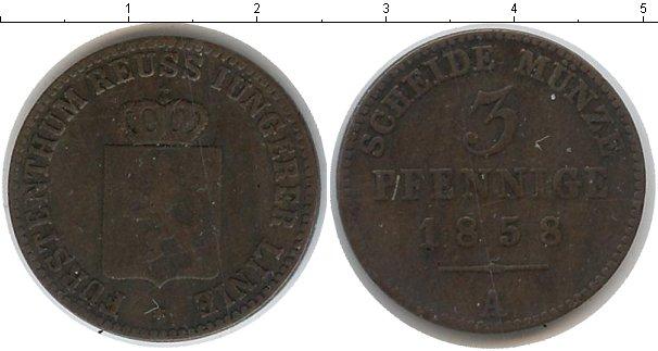 Картинка Монеты Рейсс-Оберграйц 3 пфеннига Медь 1858