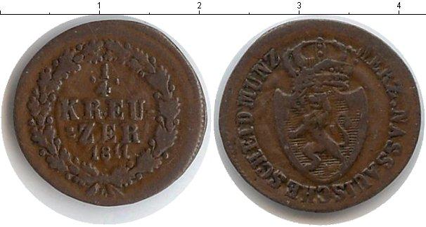 Картинка Монеты Нассау 1/4 крейцера Медь 1811