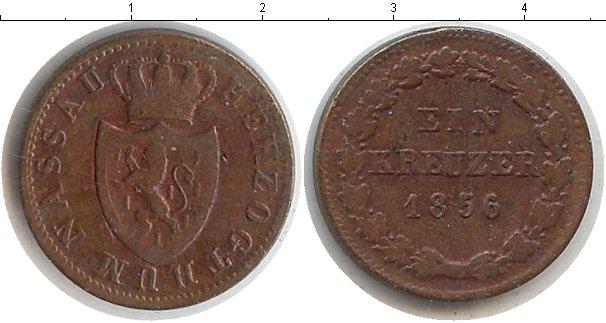 Картинка Монеты Нассау 1 крейцер Медь 1856