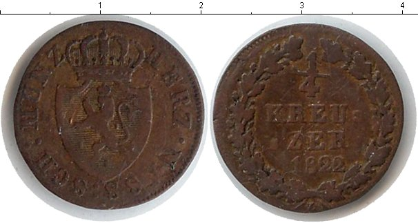 Картинка Монеты Нассау 1/4 крейцера Медь 1822