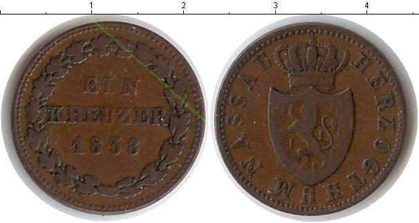 Картинка Монеты Нассау 1 крейцер Медь 1838