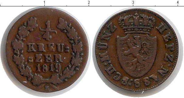 Картинка Монеты Нассау 1/4 крейцера Медь 1819