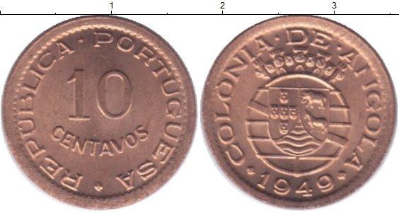 Картинка Мелочь Ангола 10 сентаво Медь 1949