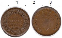 Изображение Мелочь Индия 1/12 анны 1930 Медь XF
