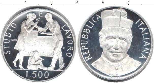 Картинка Монеты Италия 500 лир Серебро 1988