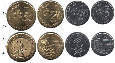 Изображение Наборы монет Малайзия Малайзия 2012 2012  UNC- В наборе 4 монеты но