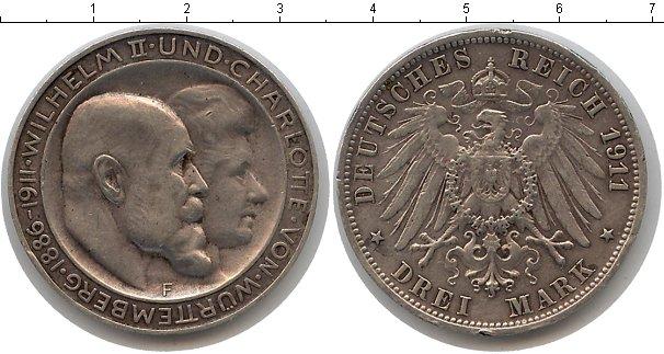 Картинка Монеты Вюртемберг 3 марки Серебро 1911