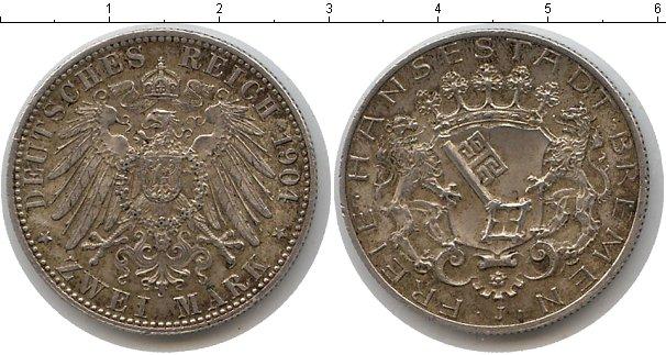 Картинка Монеты Бремен 2 марки Серебро 1904