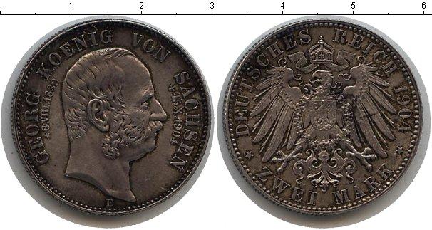 Картинка Монеты Саксония 2 марки Серебро 1904