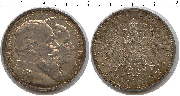 Картинка Монеты Баден 5 марок Серебро 1906